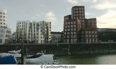 DUSSELDORF, GERMANY - Feb 16: View of the Neuer Zollhof, designed by the architect Frank O. Gehry and completed in 1998, in the Media Harbor in Dusseldorf, Germany on Feb 16, 2014