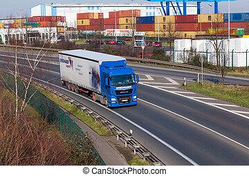 DUSSELDORF ,GERMANY - FEBRUARY 16: transport truck on the highway on February 16,2016 in Dusseldorf, Germany