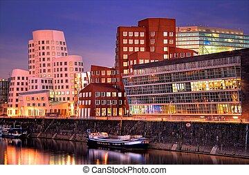 Dusseldorf, Germany - The Media Harbor (Medienhafen) in...