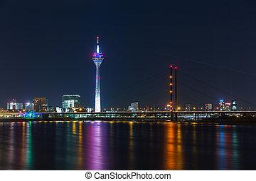Dusseldorf night skyline
