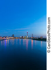 Dusseldorf skyline at blue hour night at the rhine river