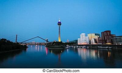 Dusseldorf Skyline at Night, Germany