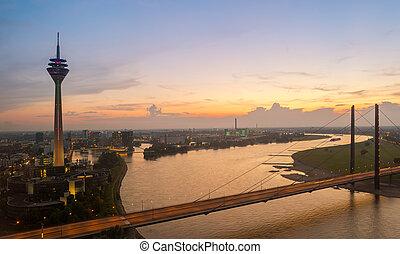 Dusseldorf Skyline view at Sunset