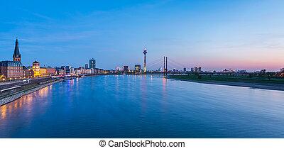 Dusseldorf sunset cityscape panorama