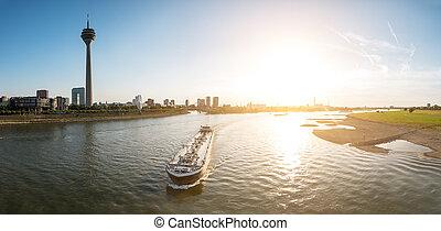 Dusseldorf Sykline at sunset panorama