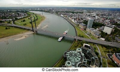 Aerial Panorama of the city Dusseldorf in Germany