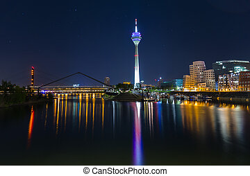 Dusseldorf with view on media harbor at night
