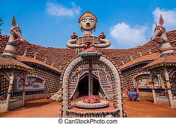 Beautiful durga idol in a snake shaped pandal at durga puja dussera decorations altavistaventures Choice Image