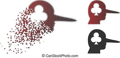 Dust Dot Halftone Gambling Jerk Icon - Gambling jerk icon in...