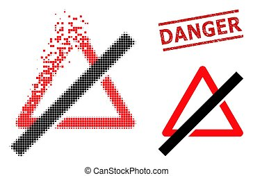 Dust Dot No Danger Icon and Scratched Danger Seal Stamp