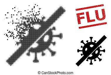 Dust Dot No Flu Virus Icon and Textured Flu Stamp