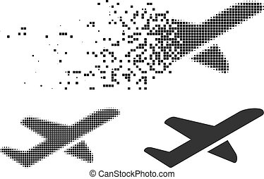 Dust Dotted Halftone Airplane Takeoff Icon