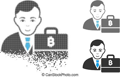 Dust Dotted Halftone Baht Accounter Icon with Face - Baht...