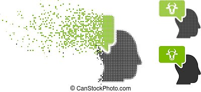 Dust Dotted Halftone Cow Thinking Person Icon