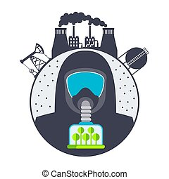 Dust in air. Man in gas mask. Ecological catastrophy. Air pollution is poisonous industrial waste. Save the trees for pure oxygen