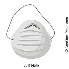 Mask with straps and filter, anti dust and smog. Isolated object for personal use in cities or work. Breathing safely, respiratory diseases and allergy. Protective measures, vector in flat style
