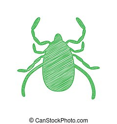 Dust mite sign illustration. Green scribble Icon with solid contour on white background.