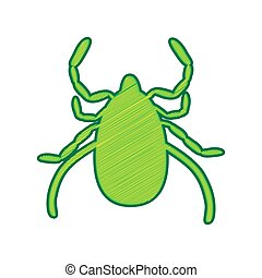 Dust mite sign illustration. Vector. Lemon scribble icon on...