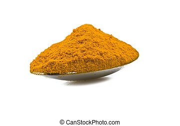 dust of ground turmeric on the white
