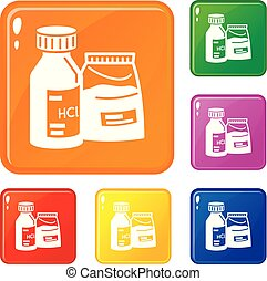 Dust pack icons set vector color