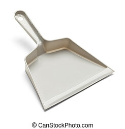 Dust Pan - Empty Plastic Grey Dust Pan Isolated on White...