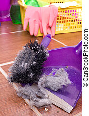 Dust pan with dirt - Close up of dust pan full of hair clot...