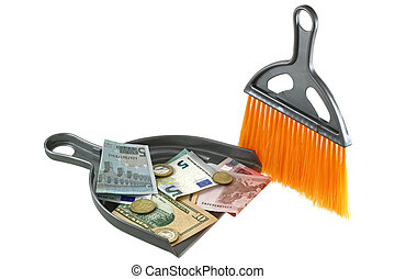Dust pan with Euro and US Dollar