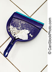 Dust pan with garbage. - Scoop hygene chores housework...
