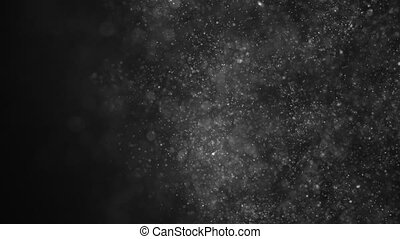 dust particles, abstract floating particles on black background