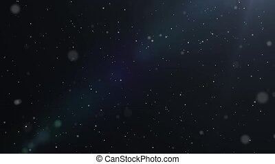 Dust particles in blue bright light on black background HD