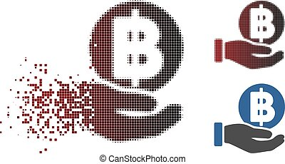 Dust Pixel Halftone Baht Coin Payment Hand Icon - Vector...