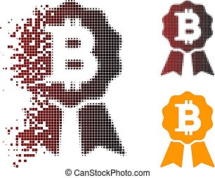 Dust Pixel Halftone Bitcoin Certificate Seal Icon