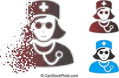 Dust Pixel Halftone Blind Nurse Icon - Vector blind nurse ...