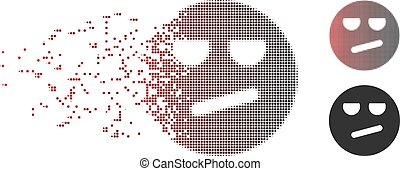 Dust Pixel Halftone Bored Smiley Icon