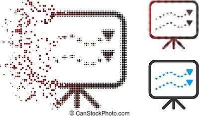 Dust Pixel Halftone Dotted Trends Board Icon - Vector dotted...