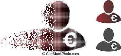 Dust Pixel Halftone Euro Financier Icon - Euro financier...