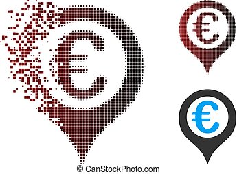 Dust Pixel Halftone Euro Geotargeting Icon - Vector Euro ...