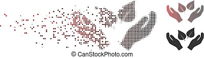 Dust Pixel Halftone Flora Care Hands Icon - Vector flora...