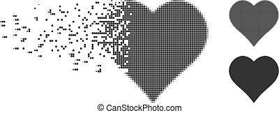 Dust Pixel Halftone Love Heart Icon