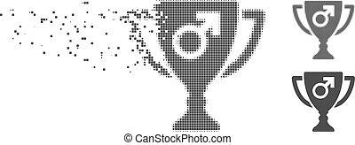 Dust Pixel Halftone Male Power Award Cup Icon