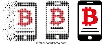 Dust Pixelated Halftone Bitcoin Mobile Payment Icon