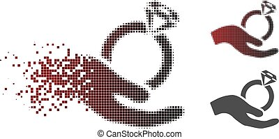 Dust Pixelated Halftone Wedding Ring Offer Hand Icon