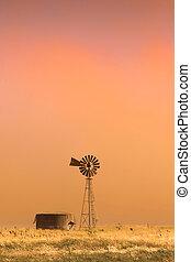 Dust Storm - A dust storm hits a rural farm