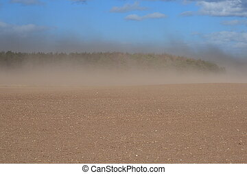 High winds stir up the dry topsoil