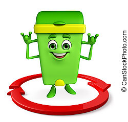 Dustbin Character with arrow