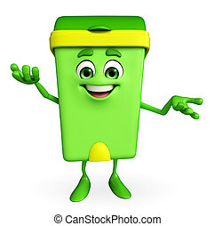 Dustbin Character with holding pose - Cartoon Character of...