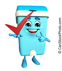 Dustbin Character with right sign - Cartoon Character of...