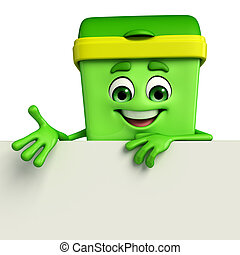 Dustbin Character with sign - Cartoon Character of Dustbin...