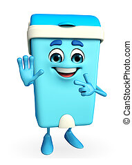 Dustbin Character with stop sign