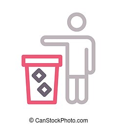 dustbin color line icon